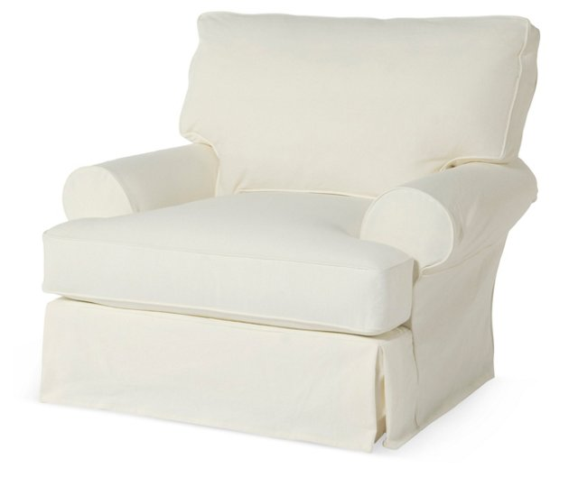 Comfy Slipcovered Club Chair, White