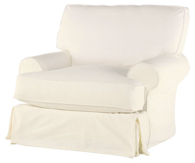 Comfy Swivel Chair, Antique White