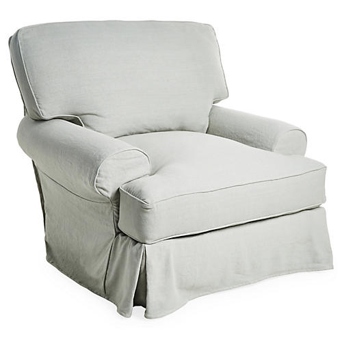 Comfy Slipcovered Swivel Club Chair, Seafoam Linen