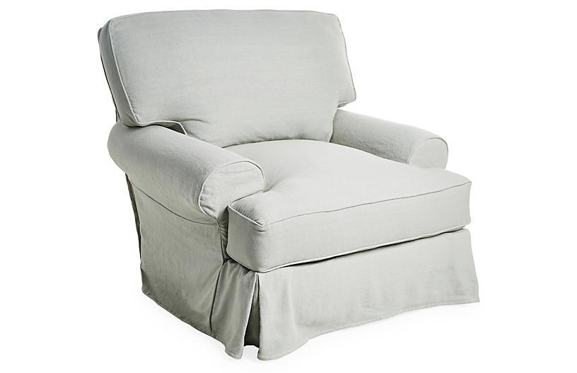 Comfy Slipcovered Swivel Club Chair, Seafoam Linen