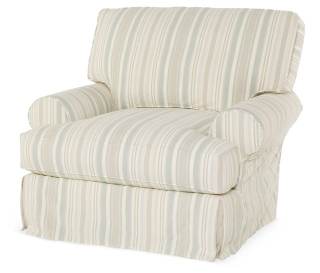 Comfy Slipcovered Swivel Club Chair, Tan