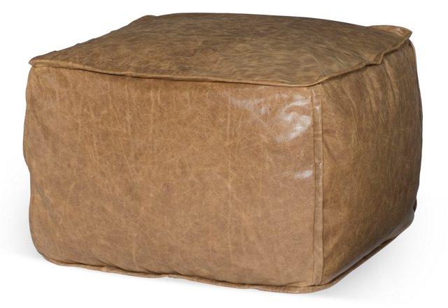Dotty Leather Pouf, Tan