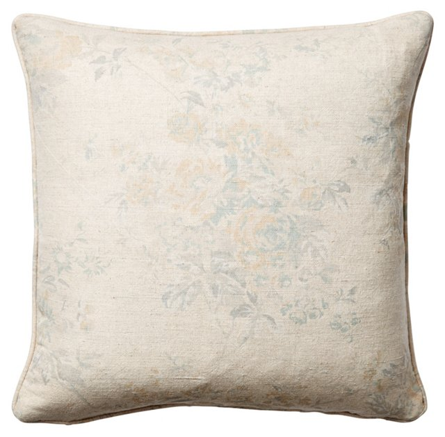 Rose Chintz 18x18 Pillow, Natural