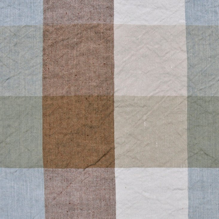 Checked Linen-Blend Fabric, Multi