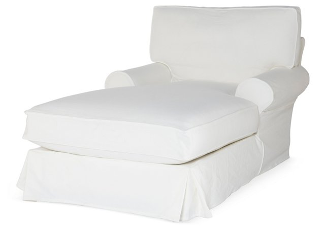 Comfy Slipcovered Chaise, White