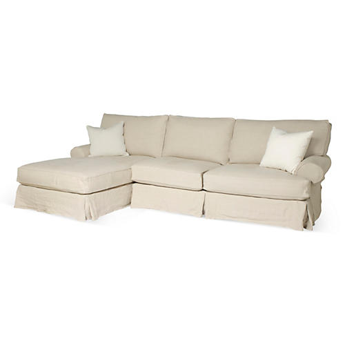 Comfy Slipcovered Sectional, Natural Linen