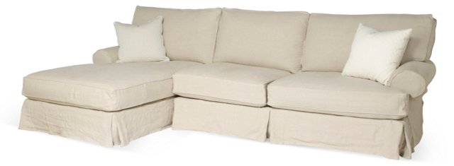 Comfy Slipcovered Sectional, Beige
