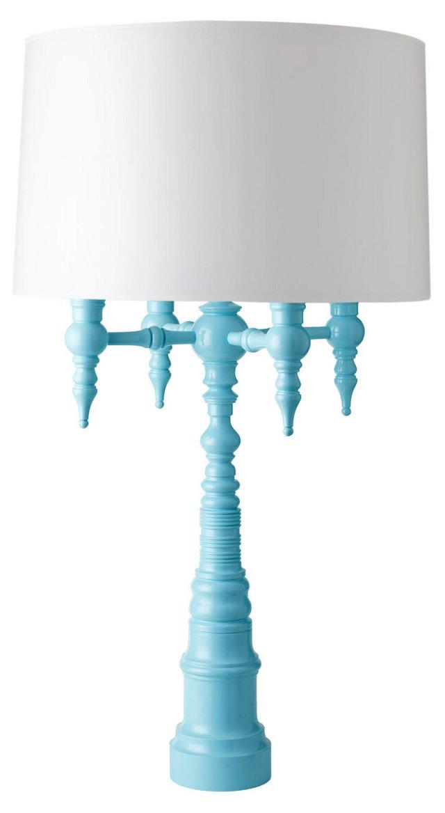 Four-Arm Candelabra Lamp, Turquoise I