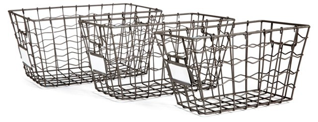 S/3 Antiqued Gray Wire Baskets