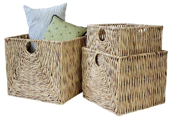 S/3 Chunky Weave Square Baskets