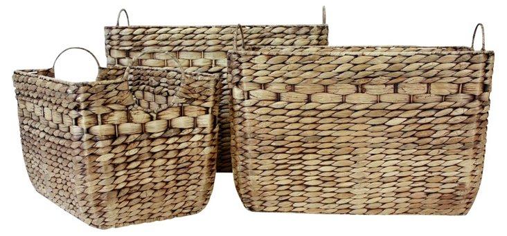 S/5 Antique Brown Rectangular Baskets