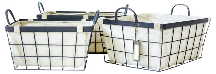S/3 Industrial Wired Rectangular Baskets