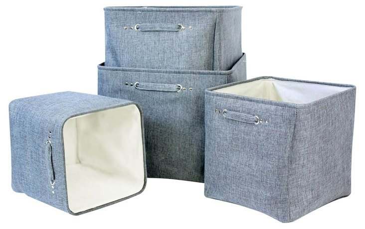 S/4 Linen Lined Square Baskets, Gray