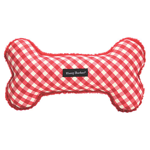 Gingham Bone Dog Toy, Red