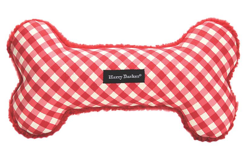 Gingham Bone Dog Toy - Red