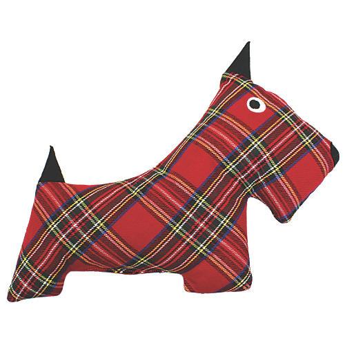 Plaid Plush Dog Toy, Red/Black