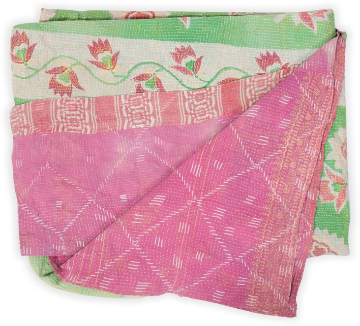 Vintage Kantha, Pink & Green