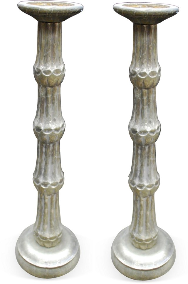 Metal Covered Candlesticks, Pair I