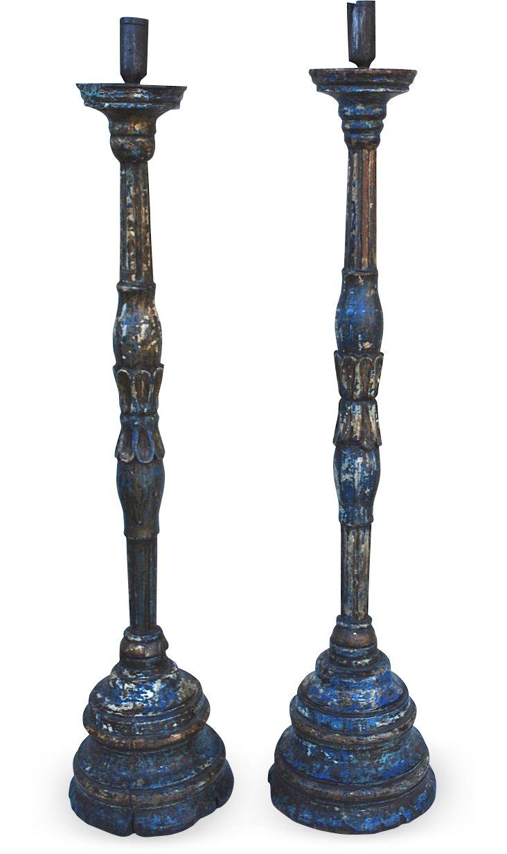 17th-C. Italian Candlesticks, Pair