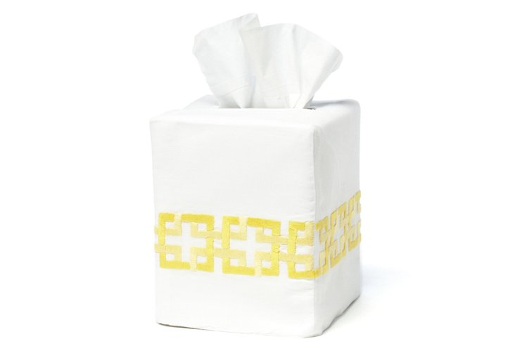 Tile Tissue Box Cover, Yellow