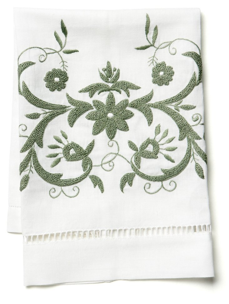 Winter Floral Tip Towel, Green/White