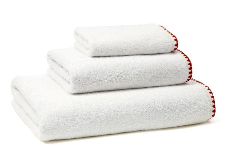 3-Pc Braid Terry Towel Set, Rust