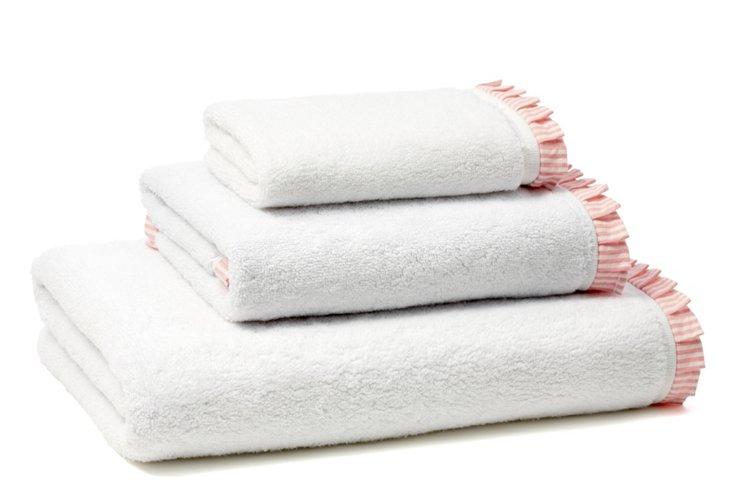 Seersucker Pleated Terry Towel Set, Rose