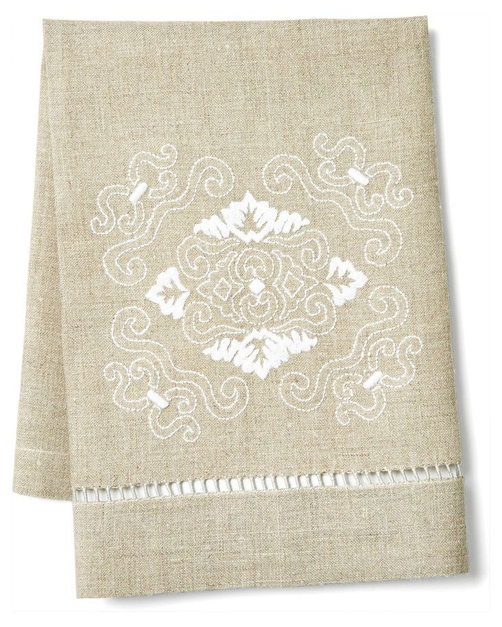 Santa Barbara Tip Towel, White/ Flax