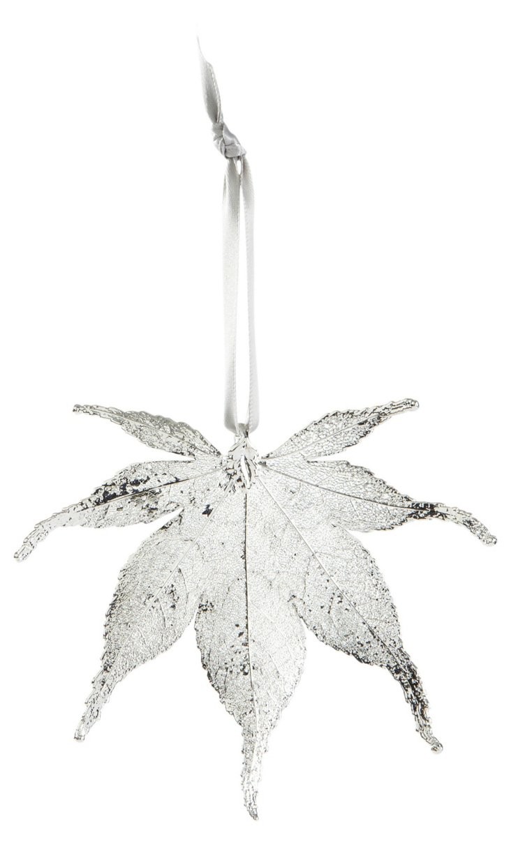 Japanese Maple Leaf Ornament, Silver