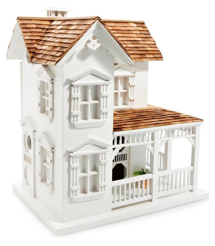 """15"""" Farm House Birdhouse, White"""
