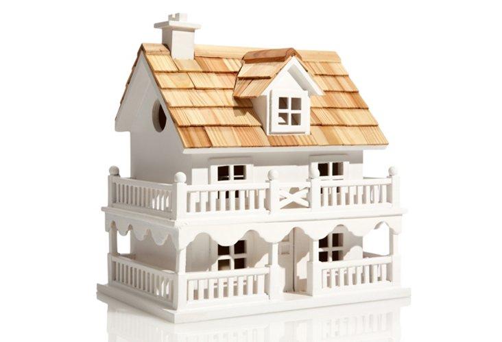 Novelty Cottage Birdhouse, White