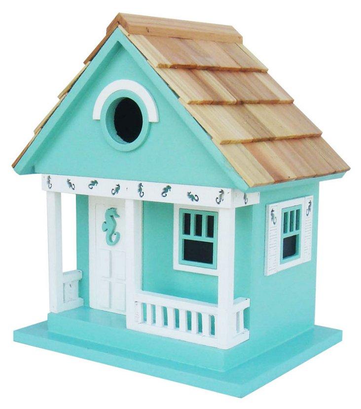 "10"" Sea Horse Cottage Birdhouse, Aqua"