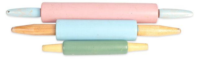 Painted Rolling Pins, Set of 3