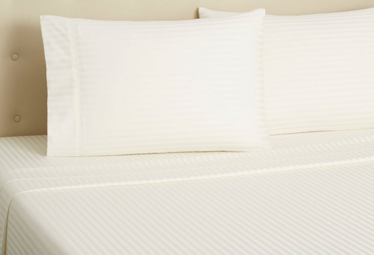 Hotel Stripe Sheet Set, Ivory