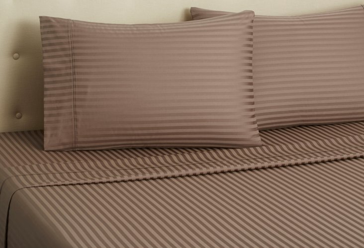 Hotel Stripe Sheet Set, Taupe