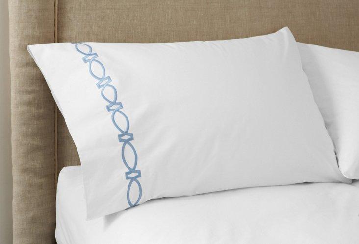 S/2 Maxwell Pillowcases, White/Blue