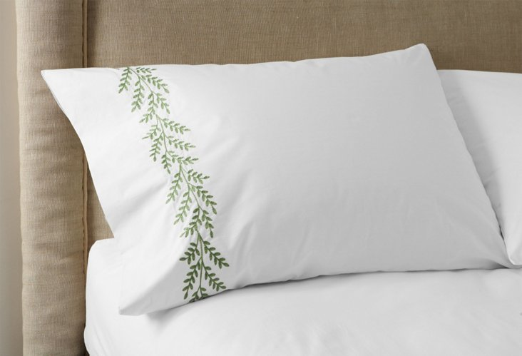 Set of 2 Willow Pillowcases, Green