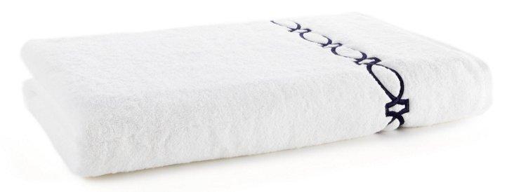 Maxwell Bath Sheet, White/Navy