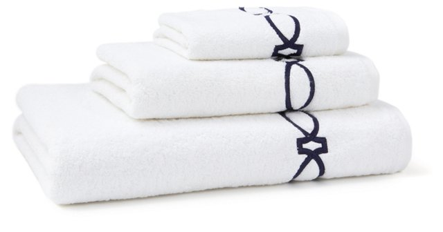 3-Pc Maxwell Towel Set, White/Navy