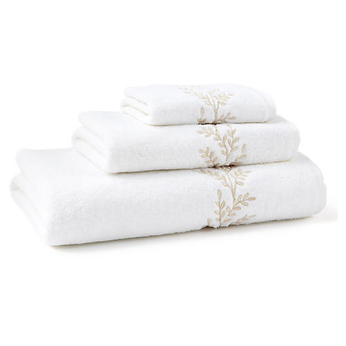 3-Pc Willow Towel Set, Ivory