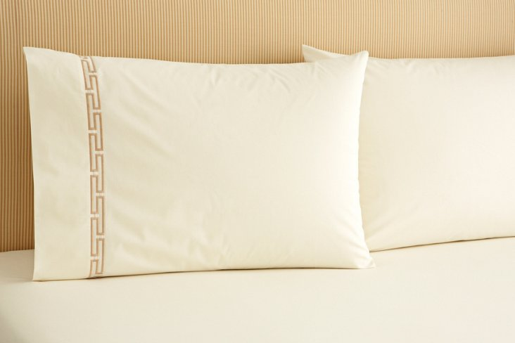 S/2 Fretwork Kg Pillowcases, Ivr/Biscuit