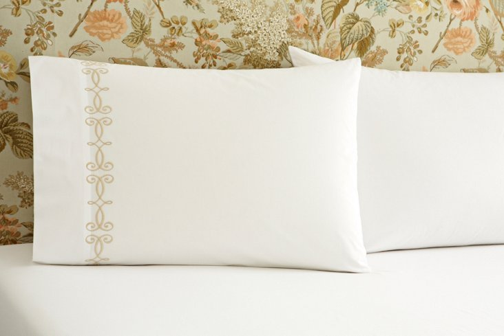S/2 French Scroll Std Pillowcases, Wh/Iv