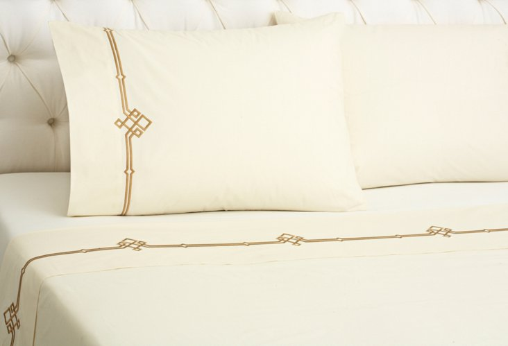 Qn Square Knot Sheet Set, Ivory/Taupe