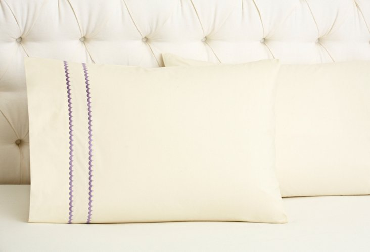 S/2 Double Scallop Std Cases, Iv/Lilac