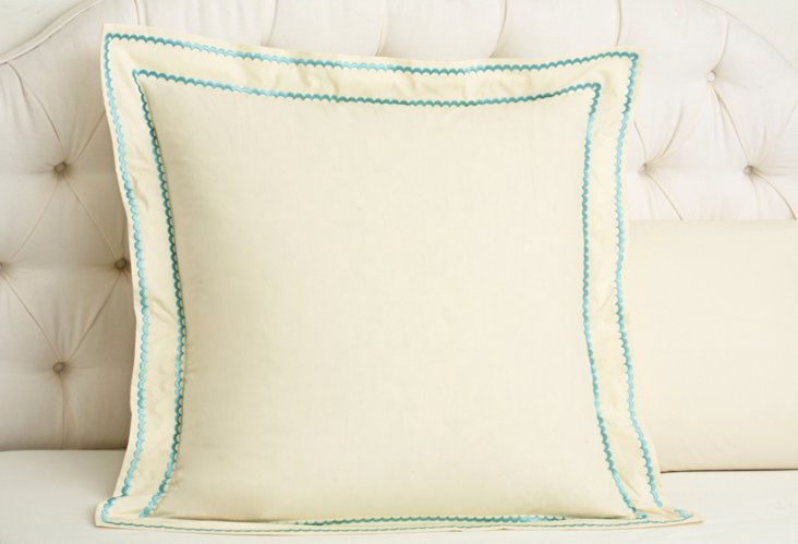 Double Scallop Euro Sham, Ivory/Teal