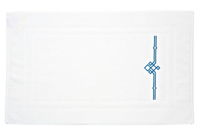Square Knot Bath Mat, White/Blue