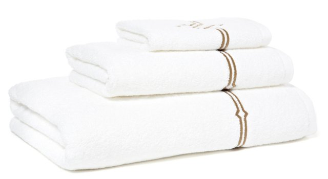 3-Pc Square Knot Towel Set, White/Taupe