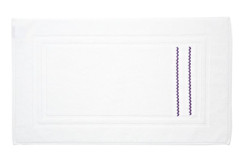 Double Scallop Bath Mat, White/Lilac