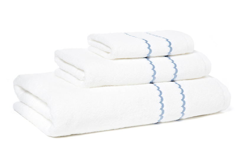 3-Pc Double Scallop Towel Set, Blue