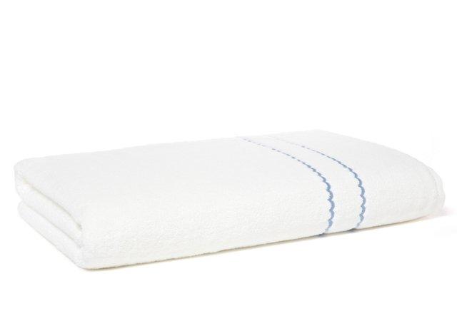 Double Scallop Bath Sheet, White/Blue